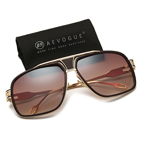AEVOGUE Sunglasses For Men Goggle Alloy Frame Brand Designer AE0336 (Gold&Brown, 62) -