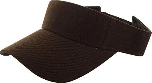 Brown_Plain Visor Sun Cap Hat Men Women Sports Golf Tennis Beach New (New Western Rhinestone Concho)