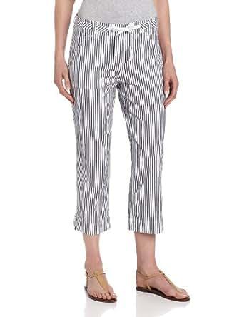 Jones New York Women's Crop Cargo Pant with drawstring, French Navy/White, 4