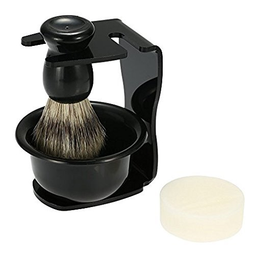 Anself 4pcs Men Shaving Set, Badger Hair Brush, Shaving Razor Holder Stand, Soap Bowl, Shaving Soap