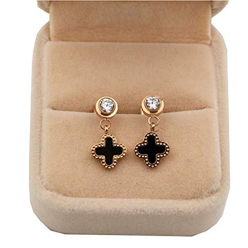 Women's Fashion Earrings Korean Style Three Icon Drop Earrings Stainless Steel Rose Gold (CT-BLACK)