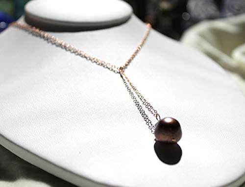 Tahitian pearl necklace with rose gold filled cable chain choker and a long chocolate pearl drop pendant