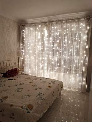 Amazon Com 12apm 300 Led Curtain Fairy String Lights With Remote For Bedroom Window Wedding Wall Backdrops Usb Plug In With Power Adapter Coldwhite Home Improvement