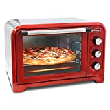 Countertop Toaster Oven. Multi-Functions 0.91 Cu. Ft. 480F 6-Slice Retro Countertop Toaster Oven (Red)