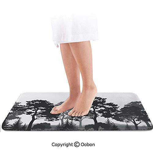 Black and White Decorations Bath Mat,Summer Forest Pine and Fir Trees Grass Bush Silhouettes Decorative,Plush Bathroom Decor Mat with Non Slip Backing,24 X 17 Inches,Black Grey White