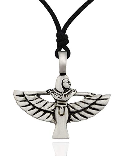 Isis Egyptian Godess Bird Silver Pewter Charm Necklace Pendant Jewelry