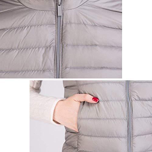 Khaki Fiesta Invierno con Camisolas Mujer Abrigos Ligeros Outwear Corto Pluma Mangas Redondo Chaleco Targogo Sin Casual Unicolor Moderno Estilo Cremallera Cuello wC1q8ER
