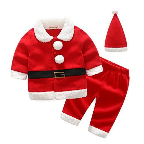 AIKSSOO 3Pcs Toddler Baby Christmas Outfit Set Santa Costume Belt Shirt+Pants Set Size 80(9-12M) (red)