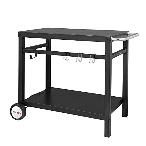 (Royal Gourmet Double-Shelf Movable Dining Cart Table,Commercial Multifunctional Stainless Steel Flattop Worktable PC3401B)