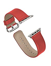 Apple Watch Band, iitee Genuine Leather Strap Band for Apple Smart Watch Replacement with Metal Buckle (42mm red)