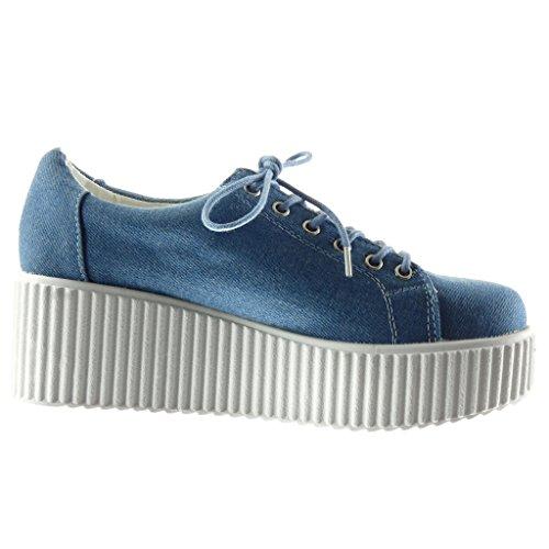 di Zeppa Zeppe Serpente Tacco Piattaforma Sneaker Coccodrillo 6 Blu Moda cm Donna Angkorly Scarpe Pelle nYqACw1v