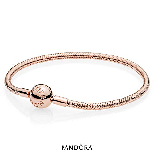 PANDORA - Moments Snake Chain Charm Bracelet in PANDORA Rose, 7.1 IN / 18 CM (Bracelet Gold With Pandora Clasp)