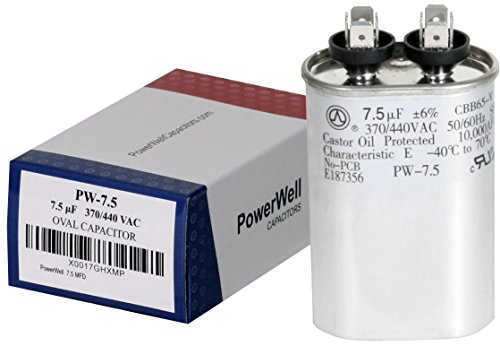 (PowerWell 7.5 uf MFD 370 or 440 VAC Oval Run Capacitor PW-7.5 for Fan Motor Blower Condenser in Air Handler Straight Cool or Heat Pump Air Conditioner - Guaranteed to Last 5 Years)