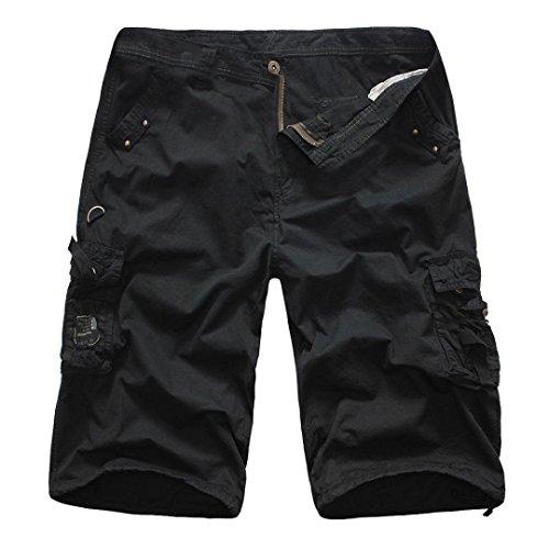 Festivo Solido Cargo Uomo Bermuda Lavoro Pantalone Di Esterno Pantaloni Colore Da Libero Per Base Tempo Schwarz Pantaloncini Abbigliamento Corti Il Sfuso nzwUn