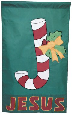 "28"" X 48"" Candy Cane Christmas Outdoor Applique Flag"