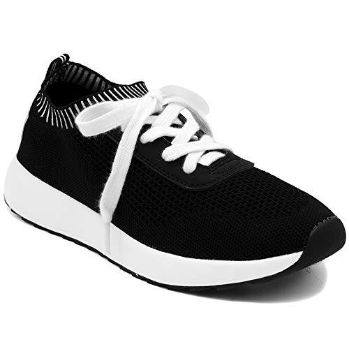 - Nautica Women Colima Breathable Knit Retro Sports Running Shoes Casual Walking Sneaker-Black-7.5