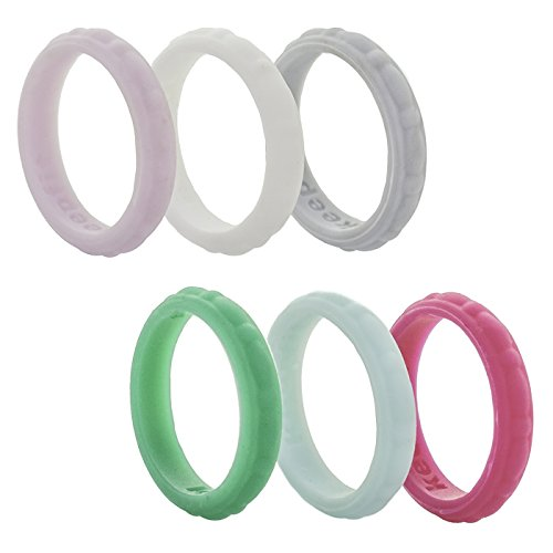 (Keepfit Silicone Wedding Ring for Women Silicone Wedding Band - 6 Pack - Rubber Stackable Diamond Rope Jewel Brick Design (Jewel - White,Green,Light Purple,Pink,Light Blue,Grey, 6))