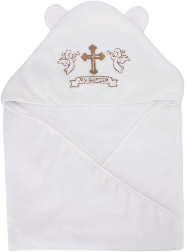 LACOFIA Toalla Bautizo de Bebé con Capucha Manta de bautismo para bebés unisex,Bordado cruz blanco y dorado,Tamaño de la toalla de baño completo 90 * 90 cm