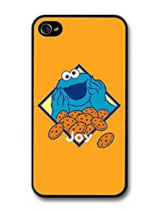 AMAF ? Accessories Cookie Monster Illustration Muppet Orange Background TV Show case for iPhone 4 4S wangjiang maoyi