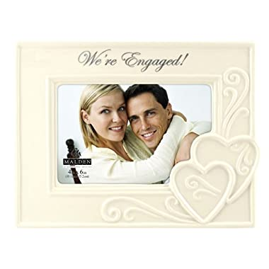 Malden International Designs Glazed Ceramic Wedding  We're Engaged   Picture Frame, 4 by 6-Inch