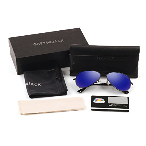 GREY JACK Polarized Classic Aviator Sunglasses Military Style for Men Women Black Frame Blue Lens Medium