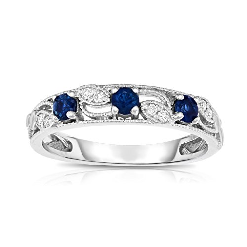 Noray Designs 14K White Gold Blue Sapphire & Diamond (0.06 Ct, G-H, SI2-I1 Clarity) Stackable (Sapphire Fashion Stackable Ring)