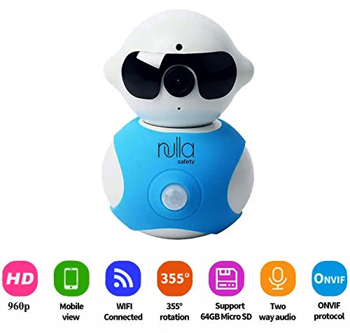 Nulla Safety, Wireless Baby Video Monitor, Home Security Hidden Camera Alarm System, Plug 'N Play Robot, Control from Cell/Mobile Device App ,Night Vision, 355° Pan Side-to-Side, Surveillance Cameras