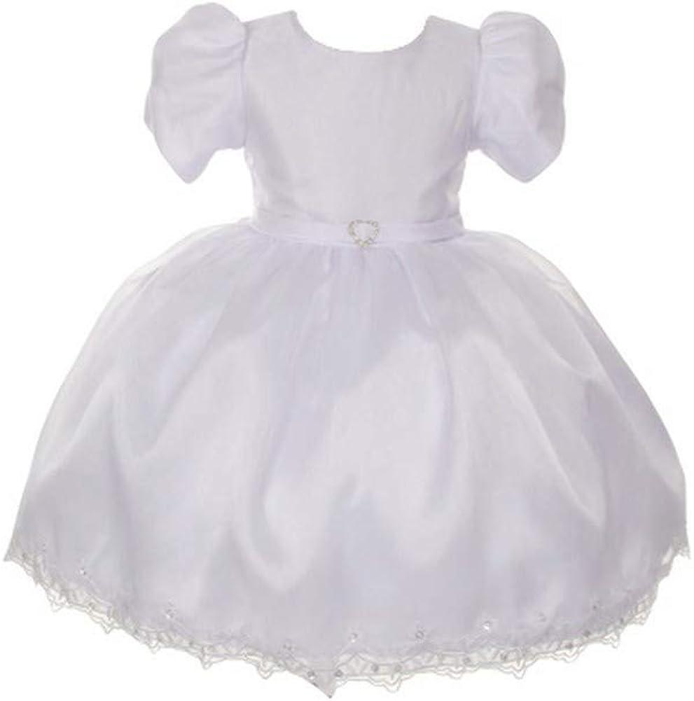 RainKids Baby Girls White Virgin Mary Detail Bonnet Cape Christening Dress 3-24M