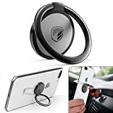 Phone Ring Holder Finger Kickstand - FITFORT 360° Rotation Metal Ring Grip for Magnetic Car Mount Compatible with All Smartphone-Black