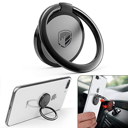 Phone Ring Holder Finger Kickstand - FITFORT 360° Rotation Metal Ring Grip for Magnetic Car Mount Compatible with All Smartphone-Gun Black
