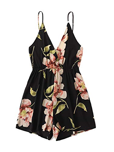 MAKEMECHIC Women's Summer Plus Strap Floral Print Elastic Waist Casual Cami Romper Jumpsuit Black#2 2XL