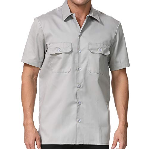 AUANZOCO Men's Work Shirts with Pocket Casual Regular Fit Short Sleeve Button Down Workwear, Silver, Medium ()