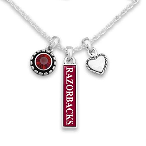 FTH Arkansas Razorbacks Triple Charm Necklace with Heart, Nameplate and Rhinestone Charms