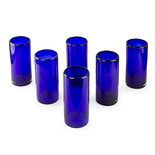 Cobalt Design Glass - NOVICA Artisan Crafted Dark Blue Recycled Glass Hand Blown Drinking Glasses, 13 oz. 'Pure Cobalt' (set of 6)