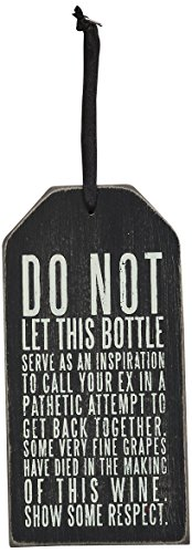 Primitives by Kathy Bottle Tag, Show Respect, 6 by 3-Inch