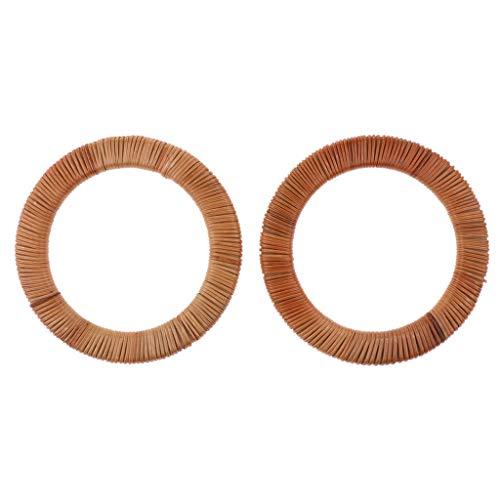 (Prettyia 2PCS DIY Wooden Purse Bag Handle Frame Rattan Replacement for Handmade Bag Handbags Tote Purse Making Supplies)