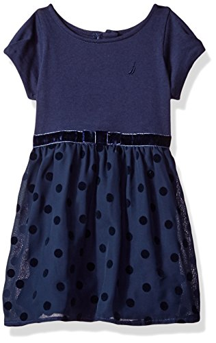 Nautica Girls' Little Ponte Top with Flocked Dot Taffeta Dress, Navy, 5 ()