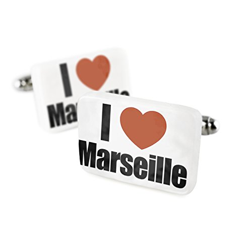 Cufflinks I Love Marseille region: Bouches-du-Rhone, Provence-Alps Porcelain Ceramic NEONBLOND