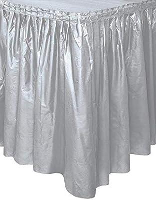Unique Party- Falda de mesa de plástico, Color plata, 420 cm ...