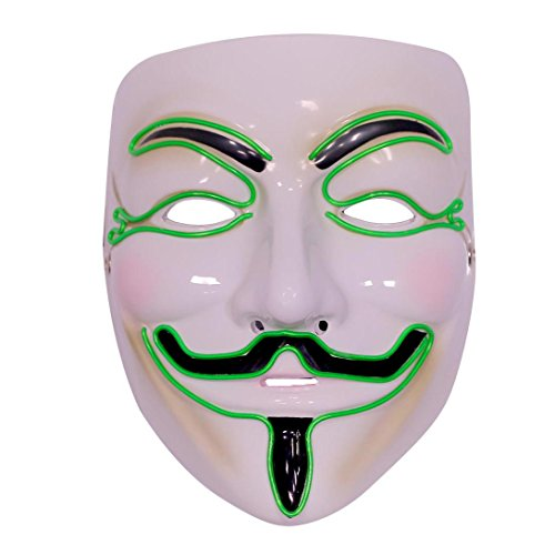 Emazing Lights Guy Fawkes for Vendetta Light Up Mask, Green