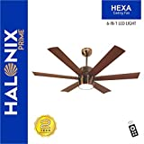 Halonix Hexa Antique 1200mm Ceiling Fan with Built-in 6 Colour LED Light and Remote (Brown)