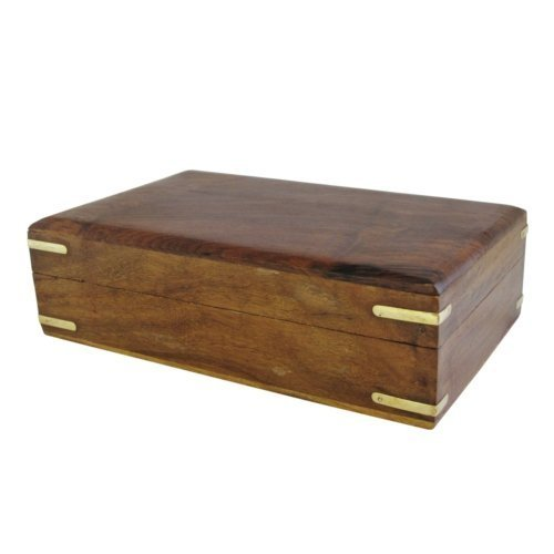 Large Hand Carved Wooden Storage Jewellery Box - Brass Corner Detailing by CE Hand Made Items - Detailing Jewelry