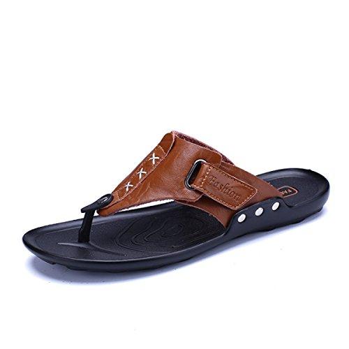 De ShoesReal Peso De Verano Brown2 Cuero Las Ligero Tiras Flops Sandalias De Zapatilla LXXAMens Hombre Correas Flip Playa wgZcRq
