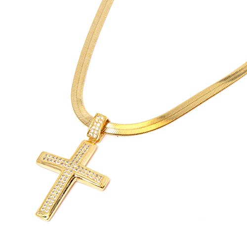 Gold Tone 2 Line Fully Cz Cross Pendant Hip-Hop with 4mm 24