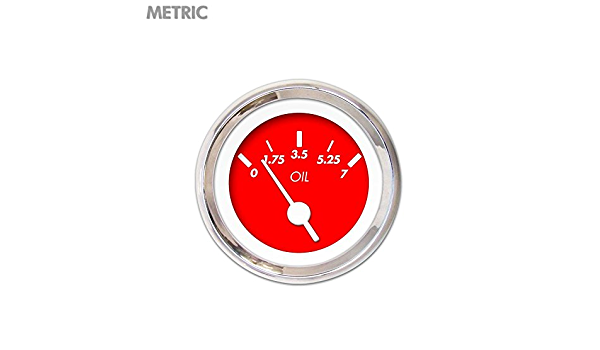 Red Vintage Needles, Chrome Trim Rings, Style Kit Installed Aurora Instruments 4744 Competition Black Metric Oil Pressure Gauge