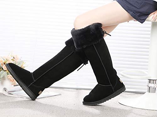 AGECC Lange Stiefel Wasserdichtes Wasserdichtes Wasserdichtes Leder Knie Schneestiefel Super Hohe Röhre Schöne Beine Dünne Und Warme Stiefel. de35f4