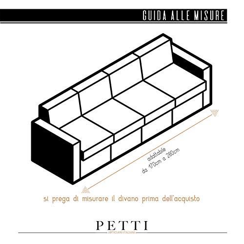 PETTI Artigiani Italiani – Fundas Sofa, Fundas de Sofa, Funda Sofa 4 Plazas, Crema, Fundas Sofa Elasticas, Tejido Jacquard, 100% Made in Italy