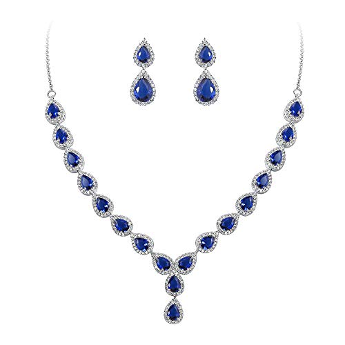 BriLove Wedding Bridal CZ Necklace Earrings Jewelry Set for Women Teardrop Infinity Figure 8 Y-Necklace Dangle Earrings Set Sapphire Color Silver-Tone September Birthstone ()