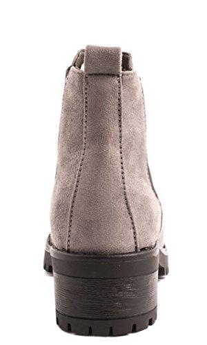Elara Chelsea Boots | Cómodo Mujer Botines | Suela bloque tacón | chunkyr ayan gris