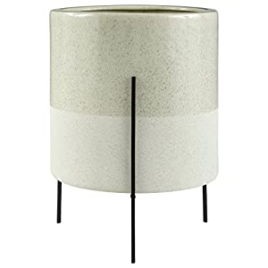 Rivet Mid-Century Ceramic Planter with Iron Stand 18.9